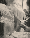 Rainbow Falls in winter, Watkins Glen, New York 1895 old antique print picture